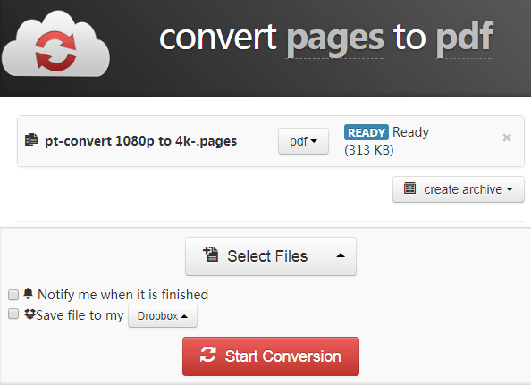 convert pages files to pdf