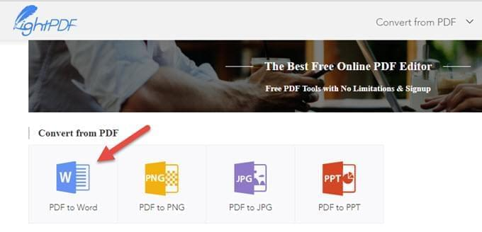 upload PDF to LightPDF